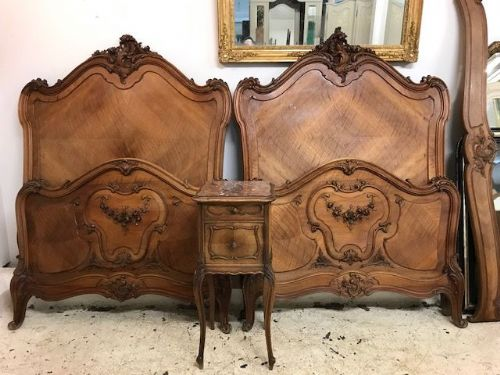 SOLD -Superb Antique French Single Twin Beds - gh122